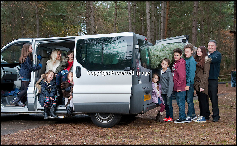 BNPS.co.uk (01202 558833)<br /> Pic: PhilYeomans/BNPS<br /> <br /> Think your Xmas is hectic??<br /> <br /> Rayna Warriner(39) from Bournemouth in Dorset has nine children to contend with every festive season, and even such simple tasks as getting the tree ready takes a military style operation.<br /> <br /> Present buying starts in the January sales, wrapping is a 3 day operation Xmas dinner is for 12...but at least the tree only takes a minute to dress, with 9 willing helpers.<br /> <br /> And both Stress manager Rayna and Police officer husband Malcolm manage to hold down full time jobs after packing the kids off to school every day.<br /> <br /> Rayna and Malcolm put the tree in the bus they use to transport the kids about in.