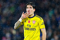 9th November 2019; King Power Stadium, Leicester, Midlands, England; English Premier League Football, Leicester City versus Arsenal; Hector Bellerin of Arsenal claims to the assistant referee he was elbowed in the face - Strictly Editorial Use Only. No use with unauthorized audio, video, data, fixture lists, club/league logos or 'live' services. Online in-match use limited to 120 images, no video emulation. No use in betting, games or single club/league/player publications
