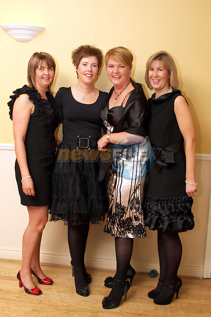 Bronagh Lynch, Michelle O'Brien, Sharon McDonnell and Emer McCormack at the St Marys GFC Presentation Dinner Dance in The Glenside Hotel...(Photo credit should read Jenny Matthews/www.newsfile.ie)....This Picture has been sent you under the conditions enclosed by:.Newsfile Ltd..The Studio,.Millmount Abbey,.Drogheda,.Co Meath..Ireland..Tel: +353(0)41-9871240.Fax: +353(0)41-9871260.GSM: +353(0)86-2500958.email: pictures@newsfile.ie.www.newsfile.ie.