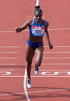 Dina Asher- Smith (Great Britain) is beaten into 2nd place by Shaunae Miller-Uibo (Bahamas) in the women's 200m during the IAAF Diamond League Athletics Müller Grand Prix Birmingham at Alexander Stadium, Walsall Road, Birmingham on 18 August 2019. Photo by Alan  Stanford.