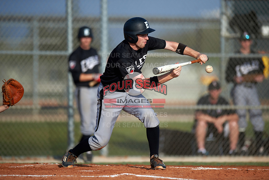 Edgewood Eagles Jonathan Roehler (9) lays down a bunt during the first game of a doubleheader against the Plymouth State Panthers on April 17, 2016 at Lee County Player Development Complex in Fort Myers, Florida.  Plymouth State defeated Edgewood 6-5.  (Mike Janes/Four Seam Images)
