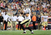 Thursday August 11, 2016: New Orleans Saints quarterback Luke McCown (7) looks to throw a pass during an NFL pre-season game between the New Orleans Saints and the New England Patriots held at Gillette Stadium in Foxborough Massachusetts. The Patriots defeat the Saints 34-22 in regulation time. Eric Canha/CSM