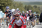 The peloton on the 5th sector of strade near Murlo during the 2014 Strade Bianche race over the white dusty gravel roads of Tuscany running from San Gimignano to Siena, Italy. 8th March 2014.<br /> Picture: Eoin Clarke www.newsfile.ie