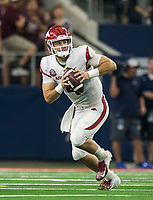 Hawgs Illustrated/Ben Goff<br /> Ty Storey, Arkansas quarterback, runs the ball in the 4th quarter vs Texas A&M Saturday, Sept. 29, 2018, during the Southwest Classic at AT&T Stadium in Arlington, Texas.
