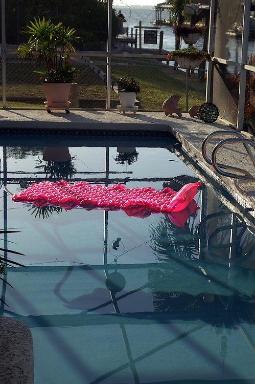 The floaty and the pool wait for the fun to begin.