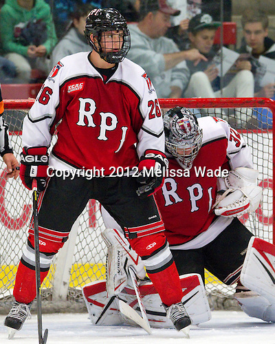 Mark Miller (RPI - 26), Bryce Merriam (RPI - 32) - The Harvard University Crimson defeated the visiting Rensselaer Polytechnic Institute Engineers 4-0 (EN) on Saturday, November 10, 2012, at Bright Hockey Center in Boston, Massachusetts.