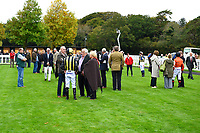 Owners, Trainers and jockeys in the parade ring during Bathwick Tyres Reduced Admission Race Day at Salisbury Racecourse on 9th October 2017