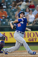 Oklahoma City Dodgers shortstop Corey Seager (18) follows through on his swing during the Pacific Coast League baseball game against the Round Rock Express on June 9, 2015 at the Dell Diamond in Round Rock, Texas. The Dodgers defeated the Express 6-3. (Andrew Woolley/Four Seam Images)