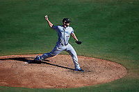Peoria Javelinas relief pitcher Jackson McClelland (56), of the Toronto Blue Jays organization, delivers a pitch to the plate during an Arizona Fall League game against the Mesa Solar Sox on October 25, 2017 at Sloan Park in Mesa, Arizona. The Solar Sox defeated the Javelinas 6-3. (Zachary Lucy/Four Seam Images)