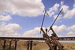 Israel, Northern Negev, the British railroad bridge over Nahal Ofakim in Sayeret Shaked Park