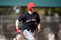 Ball State Cardinals designated hitter Nick Powell (9) runs to first base during a game against the Saint Joseph's Hawks on March 9, 2019 at North Charlotte Regional Park in Port Charlotte, Florida.  Ball State defeated Saint Joseph's 7-5.  (Mike Janes/Four Seam Images)