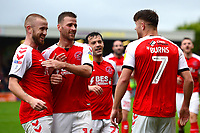 Fleetwood Town's Wes Burns celebrates scoring his side's second goal with team-mates Paddy Madden and Ryan Taylor<br /> <br /> Photographer Richard Martin-Roberts/CameraSport<br /> <br /> The EFL Sky Bet League One - Fleetwood Town v Shrewsbury Town - Saturday 13th October 2018 - Highbury Stadium - Fleetwood<br /> <br /> World Copyright &not;&copy; 2018 CameraSport. All rights reserved. 43 Linden Ave. Countesthorpe. Leicester. England. LE8 5PG - Tel: +44 (0) 116 277 4147 - admin@camerasport.com - www.camerasport.com