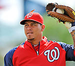 6 March 2012: Washington Nationals catcher Wilson Ramos warms up prior to a Spring Training game against the Atlanta Braves at Champion Park in Disney's Wide World of Sports Complex, Orlando, Florida. The Nationals defeated the Braves 5-2 in Grapefruit League action. Mandatory Credit: Ed Wolfstein Photo