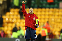 8th November 2019; Carrow Road, Norwich, Norfolk, England, English Premier League Football, Norwich versus Watford; Gerard Deulofeu of Watford celebrates with the man of the match trophy after the 0-2 win - Strictly Editorial Use Only. No use with unauthorized audio, video, data, fixture lists, club/league logos or 'live' services. Online in-match use limited to 120 images, no video emulation. No use in betting, games or single club/league/player publications