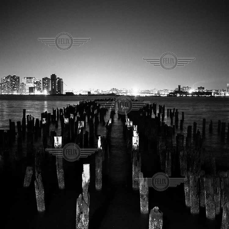 The remains of a pier on the east side of Manhattan. The docks of New York and New Jersey have for generations been synonymous with organised crime, with the Genovese family in control of the New Jersey waterfront and the Gambinos in control of the New York side.