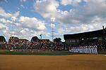 WINSTON-SALEM, NC - JUNE 02: The players and coaches line up during the playing of the national anthem. The Wake Forest Demon Deacons hosted the University of Maryland Baltimore County Retrievers on June 2, 2017, at David F. Couch Ballpark in Winston-Salem, NC in NCAA Division I College Baseball Tournament Winston-Salem Regional Game 2. Wake Forest won the game 11-3.