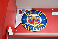 A general view of the Bath Rugby emblem in the home changing rooms. Anglo-Welsh Cup Final, between Bath Rugby and Exeter Chiefs on March 30, 2018 at Kingsholm Stadium in Gloucester, England. Photo by: Patrick Khachfe / Onside Images