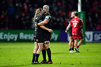 Rhys Priestland and Dave Attwood of Bath Rugby at the final whistle. Heineken Champions Cup match, between Stade Toulousain and Bath Rugby on January 20, 2019 at the Stade Ernest Wallon in Toulouse, France. Photo by: Patrick Khachfe / Onside Images