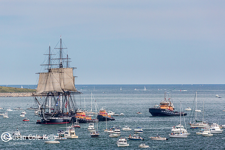 The USS Constitution under Sail in Boston Harbor, Boston, Massachusetts, USA