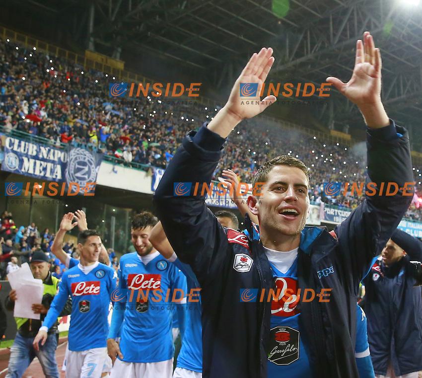 Esultanza di Jorge Luiz Frello Jorginho Napoli, celebration  <br /> Napoli 14-05-2016 Stadio San Paolo<br /> Football Calcio Serie A 2015/2016 Napoli - Frosinone<br /> Foto Cesare Purini / Insidefoto