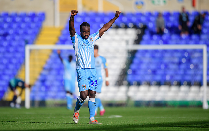 Coventry City's Fankaty Dabo celebrates at the end of the game<br /> <br /> Photographer Chris Vaughan/CameraSport<br /> <br /> The EFL Sky Bet League One - Coventry City v Blackpool - Saturday 7th September 2019 - St Andrew's - Birmingham<br /> <br /> World Copyright © 2019 CameraSport. All rights reserved. 43 Linden Ave. Countesthorpe. Leicester. England. LE8 5PG - Tel: +44 (0) 116 277 4147 - admin@camerasport.com - www.camerasport.com