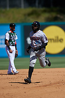 Inland Empire 66ers left fielder Kevin Williams, Jr. (20) rounds the bases after hitting a home run during a California League game against the Lake Elsinore Storm on April 14, 2019 at The Diamond in Lake Elsinore, California. Lake Elsinore defeated Inland Empire 5-3. (Zachary Lucy/Four Seam Images)