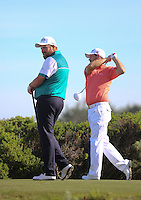 160211 Irishmen Shane Lowrey and Padraig Harrington during Thursday's First Round at The AT&T National Pro Am at The Monterey Peninsula CC in Carmel, California. (photo credit : kenneth e. dennis/kendennisphoto.com)