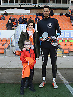 Blackpool's Christoffer Mafoumbi is presented with an award<br /> <br /> Photographer Kevin Barnes/CameraSport<br /> <br /> The EFL Sky Bet League One - Blackpool v Walsall - Saturday 9th February 2019 - Bloomfield Road - Blackpool<br /> <br /> World Copyright © 2019 CameraSport. All rights reserved. 43 Linden Ave. Countesthorpe. Leicester. England. LE8 5PG - Tel: +44 (0) 116 277 4147 - admin@camerasport.com - www.camerasport.com