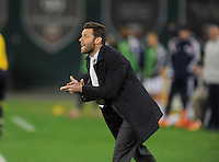 Washington D.C. - April 5, 2014: D.C. United Head Coach Ben Olsen during the game.  D.C. United defeated 2-0 the New England Revolution during a Major League Soccer match for the 2014 season at RFK Stadium.