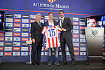 Atletico de Madrid´s President Enrique Cerezo (L), Caminero and Argentinian Cristian Ansaldi (C) during his presentation as a new Atletico de Madrid´s new player at Vicente Calderon stadium in Madrid, Spain. August 18, 2014. (ALTERPHOTOS/Victor Blanco)