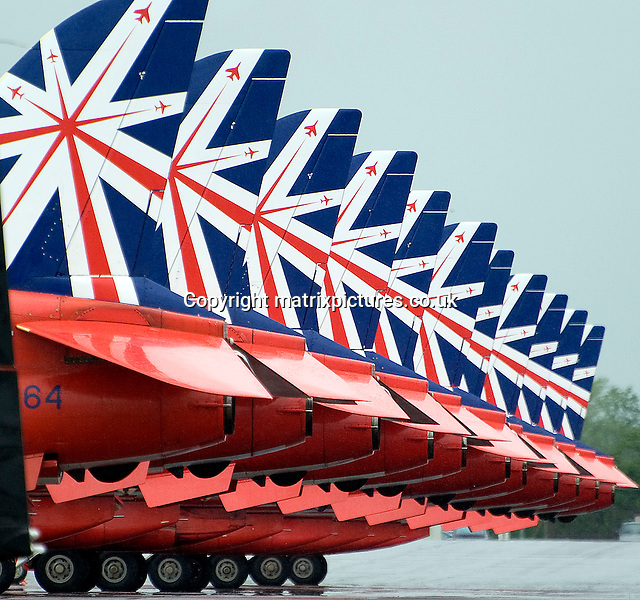 NON EXCLUSIVE PICTURE: MATRIXPICTURES.CO.UK<br /> PLEASE CREDIT ALL USES<br /> <br /> WORLD RIGHTS<br /> <br /> Pictured are the Red Arrows line up at the press day for the Royal International Air Tattoo held at RAF Fairford.<br /> <br /> MAY 31st 2014<br /> <br /> REF: RWN 142662