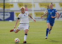 20180305 - LARNACA , CYPRUS : Italian Elena Linari pictured in front of Finnish Sanni Franssi (r) during a women's soccer game between Finland and Italy , on monday 5 March 2018 at the AEK Arena in Larnaca , Cyprus . This is the third game in group A for Finland and Italy during the Cyprus Womens Cup , a prestigious women soccer tournament as a preparation on the World Cup 2019 qualification duels. PHOTO SPORTPIX.BE | DAVID CATRY