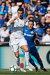 Cristiano Ronaldo of Real Madrid (front) fights for the ball with Vitorino Gabriel Pacheco Antunes of Getafe CF (back) during the La Liga 2017-18 match between Getafe CF and Real Madrid at Coliseum Alfonso Perez on 14 October 2017 in Getafe, Spain. Photo by Diego Gonzalez / Power Sport Images