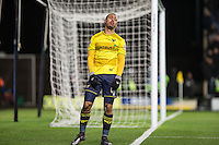 Kemar Roofe of Oxford United reaction after a missed opportunity during the Johnstone's Paint Trophy Southern Final 2nd Leg match between Oxford United and Millwall at the Kassam Stadium, Oxford, England on 2 February 2016. Photo by Andy Rowland / PRiME Media Images.