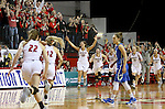 VERMILLION, SD, APRIL 2:  The University of South Dakota celebrates their 71-65 win over Florida Gulf Coast in the WNIT Championship game Saturday afternoon at the Dakota Dome in Vermillion, S.D. (Photo by Dave Eggen/Inertia)