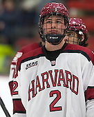 Tyler Moy (Harvard - 2) - The Harvard University Crimson honored their seniors following their final home game of the regular season on Saturday, February 22, 2014 at the Bright-Landry Hockey Center in Cambridge, Massachusetts.