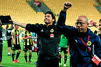 Wellington coach Darije Kalezic celebrates after the A-League football match between Wellington Phoenix and Sydney Wanderers at Westpac Stadium in Wellington, New Zealand on Saturday, 13 January 2018. Photo: Mike Moran / lintottphoto.co.nz