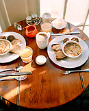 USA, New Mexico, breakfast on table, elevated view, Los Poblanos Inn, Alburquerque
