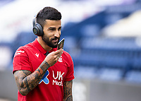 Nottingham Forest's Tiago Silva makes a phone call before the match<br /> <br /> Photographer Andrew Kearns/CameraSport<br /> <br /> The EFL Sky Bet Championship - Preston North End v Nottingham Forest - Saturday 11th July 2020 - Deepdale Stadium - Preston <br /> <br /> World Copyright © 2020 CameraSport. All rights reserved. 43 Linden Ave. Countesthorpe. Leicester. England. LE8 5PG - Tel: +44 (0) 116 277 4147 - admin@camerasport.com - www.camerasport.com