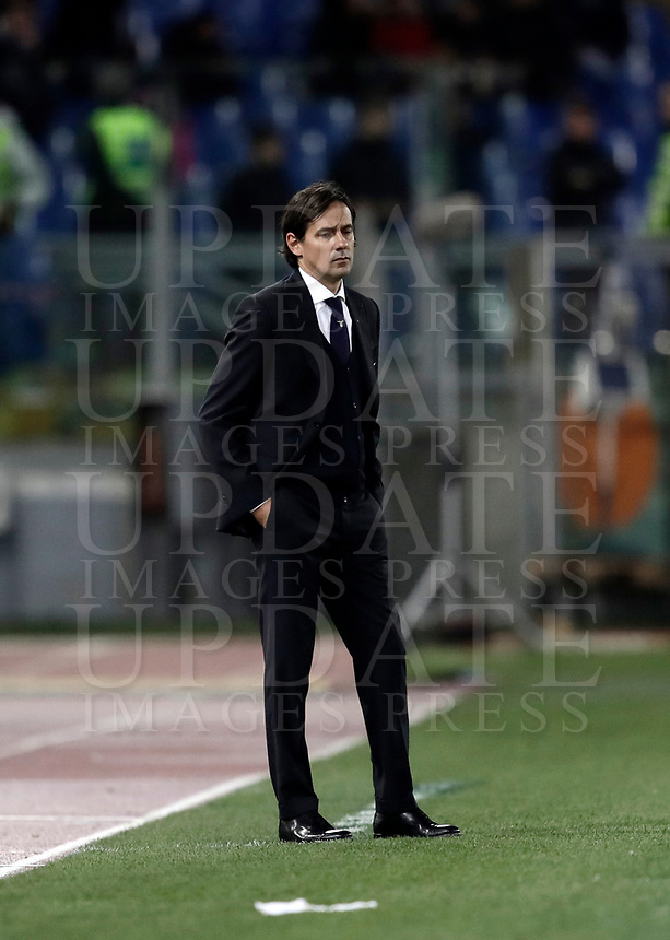 Calcio, Serie A: Roma, stadio Olimpico, 11 dicembre 2017.<br /> Lazio's coach Simone Inzaghi looks on during the Italian Serie A football match between Lazio and Torino at Rome's Olympic stadium, December 11, 2017.<br /> UPDATE IMAGES PRESS/Isabella Bonotto