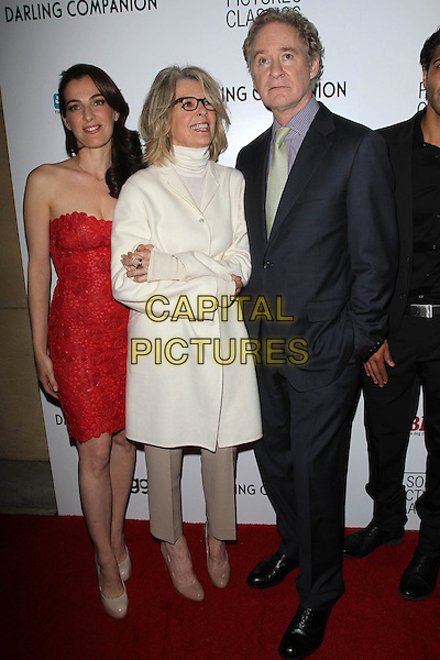 "Ayelet Zurer, Diane Keaton, Kevin Kline.""Darling Companion"" - Los Angeles Premiere Held at the American Cinematheque's Egyptian Theatre, Hollywood, California, USA..April 17th, 2012.full length white coat glasses black grey gray suit red strapless dress beige trousers .CAP/ADM/KB.©Kevan Brooks/AdMedia/Capital Pictures."