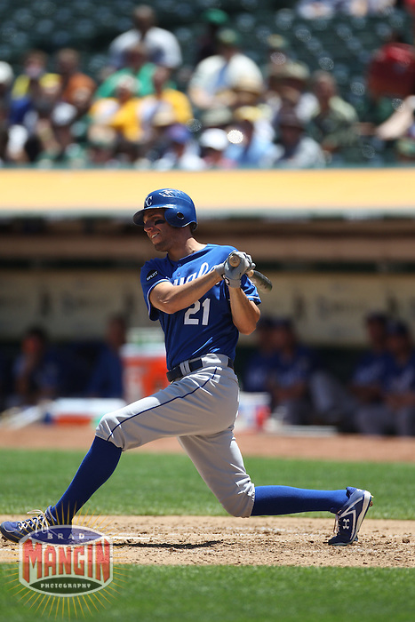 OAKLAND, CA - JUNE 16:  Jeff Francoeur #21 of the Kansas City Royals bats against the Oakland Athletics during the game at the Oakland-Alameda County Coliseum on Thursday, June 16, 2011 in Oakland, California. Photo by Brad Mangin