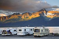 Camping at Waterfront Park, Seward, Kenai Peninsula, Chugach National Forest, Alaska.