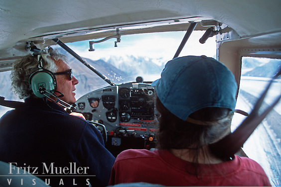 Pilot Andy Williams flying in the St. Elias Range, Kluane National Park, Yukon