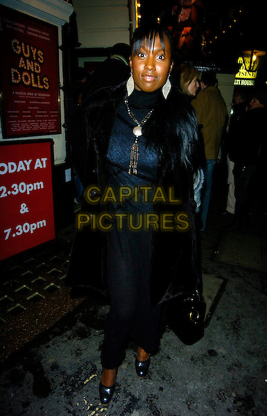 "MICHELLE GAYLE.""Guys & Dolls"" VIP Performance, Picadilly Theatre, London, UK..January 24th, 2007.full length black fur lined trim coat.CAP/CAN.©Can Nguyen/Capital Pictures"