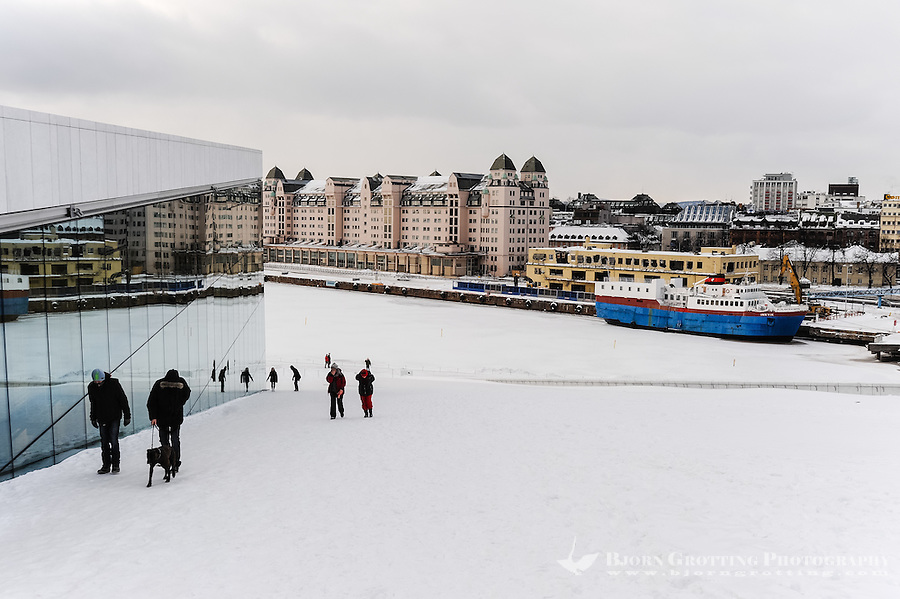 Norway, Oslo. Winter at the new Opera building in Bjørvika.