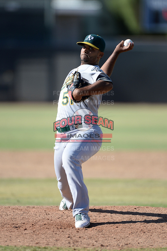 Oakland Athletics pitcher Junior Mendez (51) during an Instructional League game against the Milwaukee Brewers on October 10, 2013 at Maryvale Baseball Park Training Complex in Phoenix, Arizona.  (Mike Janes/Four Seam Images)