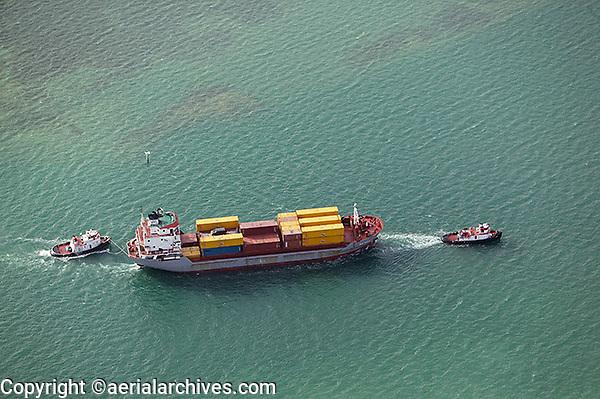 aerial photograph tug boats container ship, Miami, Florida