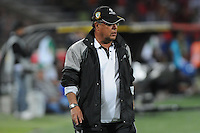 MEDELLÍN -COLOMBIA-11-08-2013. Nestor Otero técnico del Equidad gesticula durante partido contra Medellin válido para la fecha 3 de la Liga Postobón II 2013 jugado en el Estadio Atanasio Girardot de la ciudad de Medellin./ Equidad coach Nestor Otero gestures during match against Medellin valid for the 3th date of the Postobon League II 2013 at Atanasio Girardot stadium in Medellin city.  Photo:VizzorImage/Luis Ríos/STR