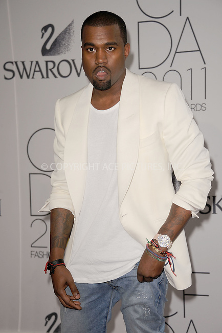 WWW.ACEPIXS.COM . . . . . .June 6, 2011...New York City..... Kanye West attends the 2011 CFDA Fashion Awards at Alice Tully Hall, Lincoln Center on June 6, 2011 in New York City......Please byline: KRISTIN CALLAHAN - ACEPIXS.COM.. . . . . . ..Ace Pictures, Inc: ..tel: (212) 243 8787 or (646) 769 0430..e-mail: info@acepixs.com..web: http://www.acepixs.com .